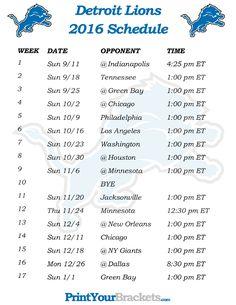 Printable Detroit Lions Schedule - 2016 Football Season