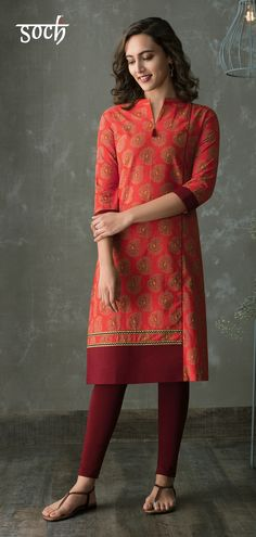 5e9d0f4615 Get an ethnic and a classy look wearing this coral and maroon coloured kurti  from the