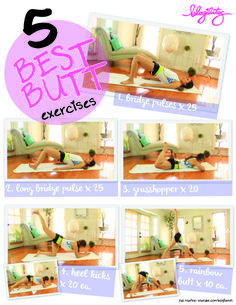 5-best-butt-printable Pop Pilates, Pilates Video, Beginner Pilates, Pilates Workout, Hiit, Best Butt Lifting Exercises, Glute Workouts, Body Exercises, Body Workouts