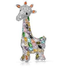 Bling Jewelry Bling Jewelry Multi Color Cz Giraffe Brooch Animal Pin... ($25) ❤ liked on Polyvore featuring jewelry, brooches, multiple colors, pin jewelry, cz jewelry, evening jewelry, tri color jewelry and giraffe jewelry