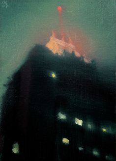 Fisher Building at Night - Stephen Magsig Urban Landscape, Abstract Landscape, Landscape Paintings, Small Paintings, Nocturne, Art For Art Sake, Painting & Drawing, Painting Abstract, Acrylic Paintings