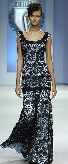 Elegant crocheted evening gown!