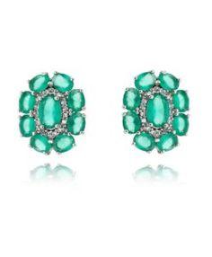 brinco delicado com zirconias esmeraldas candy e cristais com banho de rodio bijuterias finas da moda