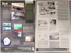 Ice: Global Ice and Snow. The front side of the poster has color pictures showing the Earths' snow and glacial cover. The back side of the poster is in black and white and gives a description of the melting and freezing of land ice that is occurring, a NASA mission sampler, classroom activities, etc. Call number: CH 94 8 2002