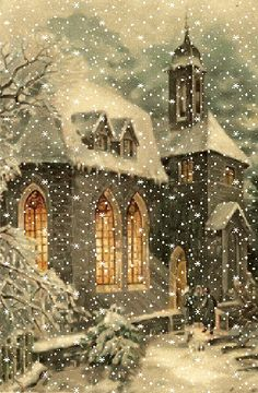 A white Christmas in a snow coat is a big boost to holiday magic! The choice of white for Christmas decorations also allows a result of the most chic, without fault of taste possible! Christmas Scenes, Noel Christmas, Vintage Christmas Cards, Christmas Images, Winter Christmas, Victorian Christmas, Vintage Cards, Animated Christmas Pictures, Christmas Tumblr