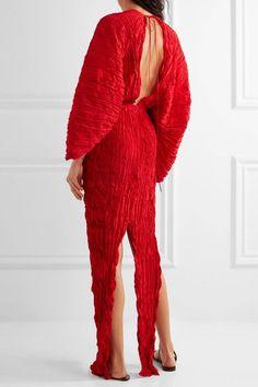 Juan Carlos Obando - Crinkled Plissé-silk Maxi Dress - Red - US14