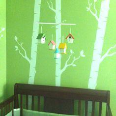 Birdhouse mobile I made for the nursery!