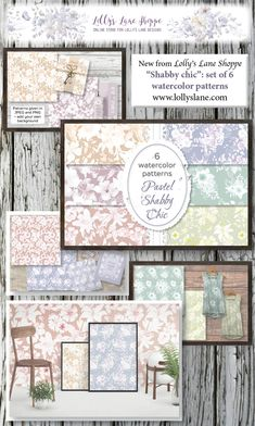 """""""Shabby chic"""": set of watercolor patterns in pastel flowers - Pamukpattern Pastel Watercolor, Watercolor Pattern, Watercolor Background, Pastel Flowers, Pastel Floral, Pastel Pattern, Floral Patterns, List Of Flowers, All Paper"""
