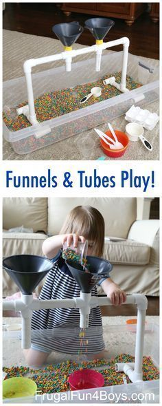 Sensory Play with Funnels, Tubes, and Colored Beans - Great for fine motor skill development. Preschoolers will love this fun sensory play station!