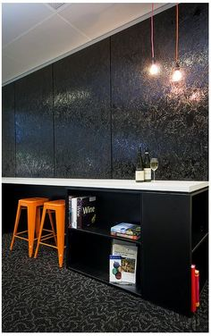 Oriented Strand Board wall panels, with gloss black paint finish