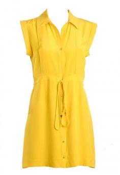 vestido tipo chemise amarelo