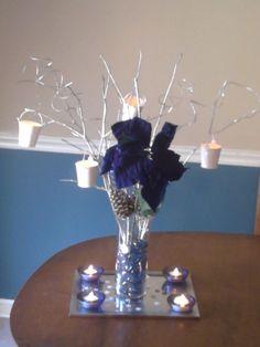 winter wedding - blue diy reception silver white Center Piece