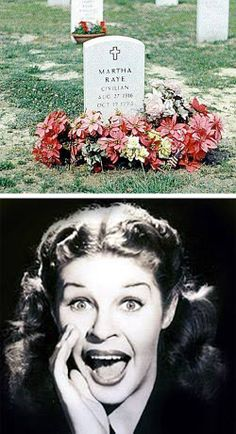 """Martha Raye (1916 - 1994), American comedienne and USO worker, She is the only woman buried in the Special Forces cemetery at Fort Bragg. Hollywood just doesn't make 'em like this any more. During WWII, Korea and Vietnam, she traveled extensively to entertain the American troops. Martha was made an honorary Green Beret and visited US Army Special Forces in Vietnam without fanfare.She was affectionately known by the Green Berets as """"Colonel Maggie."""