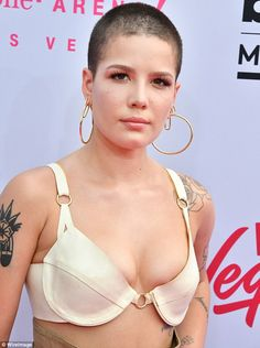 Keeping cool: Halsey kept cool in a bralette Sunday amid soaring temperatures at the Billboard Music Awards in Las Vegas