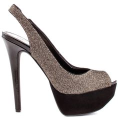 Be in the striking sling back club with this utterly stunning pump. Jessica Simpson's Halie 2 style features an elastic heel strap, peep toe, and a sparkly mesh upper. This compliment inducing sandal showcases a 5 1/2 inch heel and supportive 1 1/2 inch platform.