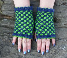 Blue and green wrist warmers, Wool knit fingerless gloves, Special present for birthday, Cool gifts for teens, Aster flower pattern