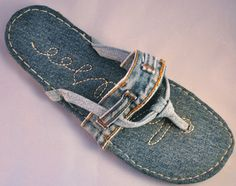 One of the many shoes and sandals I have made from recycled denim.
