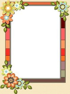 Frame Border Design, Boarder Designs, Page Borders Design, Flower Boarders, Flower Frame, Leaf Template Printable, Printable Border, Boarders And Frames, School Frame
