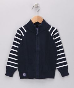 Take a look at this Navy Stripe Zip-Up Sweater - Toddler & Boys by Preppy Picks: Boys' Apparel on #zulily today!
