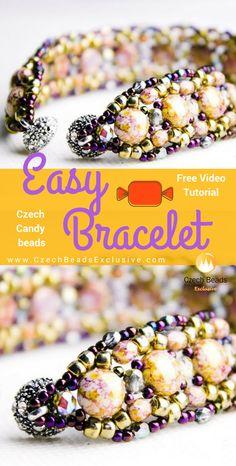 2 Hole Candy, Seed and Fire Polished Czech Glass Beads - Easy Beaded Bracelet Pattern Free Video Tutorial |SAVE it!| www.CzechBeadsExclusive.com #czechbeadsexcluisve #czechbeads