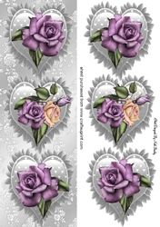 Pretty purple cream roses on a silver frill heart  tall DL on Craftsuprint - View Now!