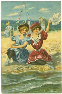 Bathing Beauties -Two ladies on the beach - vintage postcard (1910) by Tommer G, via Flickr
