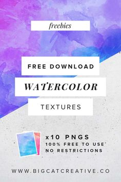 FREEBIE: 10 Watercolor Textures — Big Cat Creative | Design Freebies | Free Watercolor Patterns | Free Watercolor Textures | Free Patterns and Textures | Free Texture Pack | Photoshop Freebies | Graphic Design | Web Design | Freebie Friday