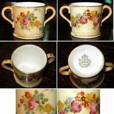 Antique Royal Worcester bone china miniature Loving Cup