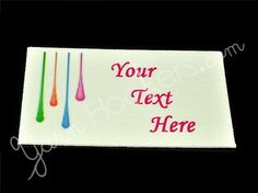 Paint Drip - Iron On / Sew In - 100% Cotton Fabric Labels (White), $11