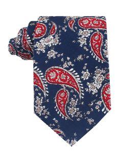 Trasimeno Blue with Red Paisley Tie   Mens Tie Ties Neckties   OTAA