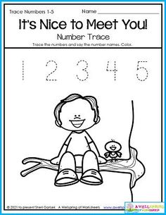 """This is a great page for the beginning of the year when kids still don't have many friends yet. This worksheet can encourage them to get out there and say, """"It's nice to meet you!"""" as well as practicing their number tracing! This page is just one of 30 in my Back to School Counting Worksheets set. Please be sure and check it out! It has lots of new to school themes. Counting Worksheets For Kindergarten, Back To School Worksheets, Graphing Worksheets, Number Tracing, Writing Lines, Upper And Lowercase Letters, School Themes, Meet, Nice"""