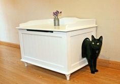 I am among those who love pets, especially cats. But cats can often damage the interior and furniture, so I need a litter box that can hide it so it will be a native accent decor Hidden Litter Boxes, Litter Box Enclosure, Diy Rangement, Diy Cat Toys, Cat Furniture, Recycled Furniture, Animal Design, Designer, Small Spaces