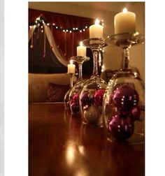Wine Glasses Into Candle Holders With A Christmas Flair