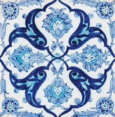 Kütahya pottery tile with blue and white decoration - Ottoman Turkey, circa 1900