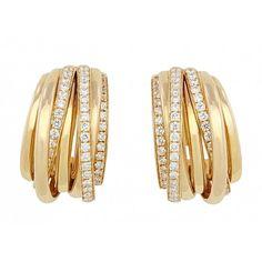 De Grisogono Diamond Hoop Earrings in 18K ❤ liked on Polyvore featuring jewelry, earrings, de grisogono, diamond jewellery, 18 karat gold earrings, diamond hoop earrings and 18k earrings