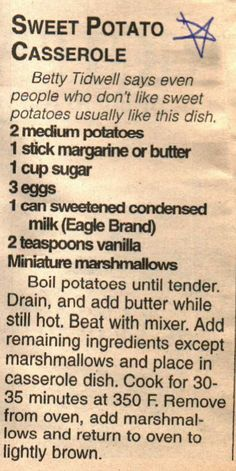 Old Recipes, Cookbook Recipes, Vintage Recipes, Side Dish Recipes, Cooking Recipes, Potatoe Casserole Recipes, Sweet Potato Casserole, Sweet Potato Recipes, Casserole Dishes