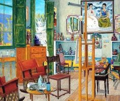 """Damian Elwes """"Frida Kahlo's Studio in Coyoacan,"""" mixed media on canvas, 62 x 72 in, 2008 Rose Wylie, Jonas Wood, Willem De Kooning, Paul Gauguin, Museum Exhibition, Painted Paper, Henri Matisse, Mixed Media Canvas, Art Studios"""