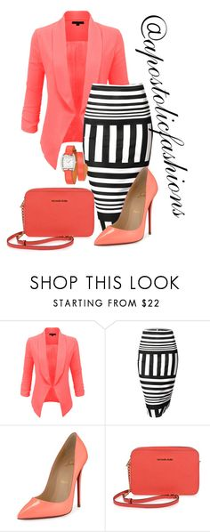"""Apostolic Fashions #1479"" by apostolicfashions on Polyvore featuring LE3NO, Doublju, Christian Louboutin, MICHAEL Michael Kors and Hermès"