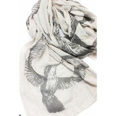 Hummingbird Print Scarf - Tan