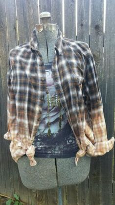 Hand Bleach Dip Dyed Flannel Shirt Bohemian Country Western Grunge Boho Xl