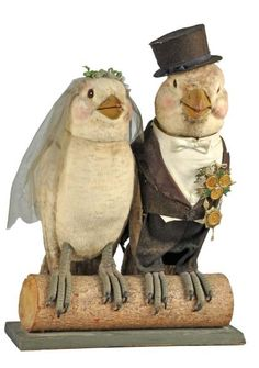 Bride & Groom Birds Automaton. German. Circa 1920s. Working. Fantastic detail and workmanship. When plugged in, both figures turn their heads and move their beaks.