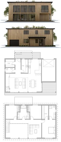 Home Plan, Floor Plan, Architecture, New Home Plan New House Plans, Modern House Plans, Small House Plans, House Floor Plans, House Front Design, Small House Design, Modern House Design, Prefab Homes, Cabin Plans
