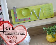 Love Connection Wood Sign by @Jenna_Burger, www.sasinteriors.net - @Lowe's Creative Ideas #LowesCreator
