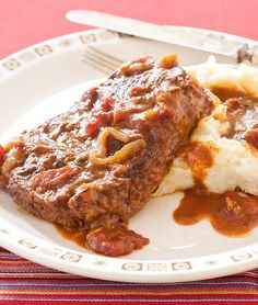 Swiss Steak Recipe With Tomato Soup.Swiss Steak Without Tomato Recipe Food Com. Tastee Recipe Stupid Easy Slow Cooker Swiss Steak It . Mushrooms And Onions For Steak Recipe Food Com. Home and Family Swiss Steak Recipes, Beef Recipes, Braiser Recipes, Cuban Recipes, Retro Recipes, Campbell's Tomato Soup Recipes, Tomato Recipe, Campbells Soup Recipes, Cooks Country Recipes