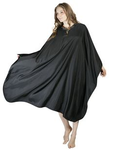 Bathroom Hardware Long Spa Massage Robe Kimono Robe Bath Gown Solid Color Smock Cape Dress Hair Dye Shampoo Makeup Client Apparel Uniform_black Fragrant Aroma