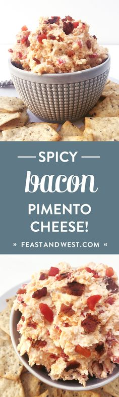 Bacon Pimento Cheese is the Southern salty cheese spread that will make your party guests happy. Finger Food Appetizers, Appetizer Dips, Appetizers For Party, Finger Foods, Appetizer Recipes, Tailgate Appetizers, Healthy Appetizers, Recipes Dinner, Dessert Recipes