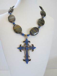 Tiger Iron and Blue Howlite Necklace with Metal Cross by Holiday Jewelry, Fall Jewelry, Summer Jewelry, Unique Jewelry, Religious Gifts, Religious Jewelry, Rustic Wedding Jewelry, Bohemian Jewelry, Iron
