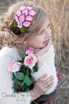 Felt Flower Headband - Pink Green - Rose Headband - Wool Felt - Dahlia - Baby - Toddler - Girls Teen - Adult - Photo Prop - Fascinator