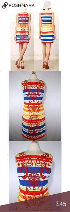 "Tabitha Anthropologie Banded Totem Shift Dress Anthropologie Tabitha banded totem embroidered shift dress. Size 8. Gently used. Clean. No issues. 100% cotton. Beautiful dress!  18.5"" armpit to armpit  16"" across at waist 20"" across at hip 36"" long (shoulder to bottom) Anthropologie Dresses"