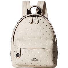 COACH Bandana Rivets Mini Campus Backpack (DK/Chalk) Backpack Bags ($395) ❤ liked on Polyvore featuring bags, backpacks, mini rucksack, strap backpack, day pack backpack, military style backpack and military rucksack